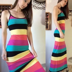 Derek Heart Bold Rainbow Striped Maxi Dress